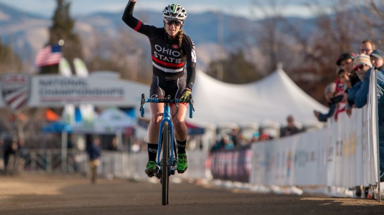 Jen Malik took home the Collegiate Club title. 2018 Cyclocross National Championships. © A. Yee / Cyclocross Magazine