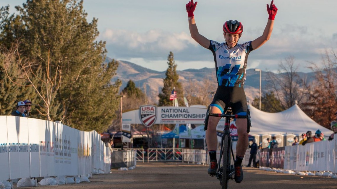 Hannah Arensman won the Collegiate Varsity race in Reno. 2018 Cyclocross National Championships. © A. Yee / Cyclocross Magazine