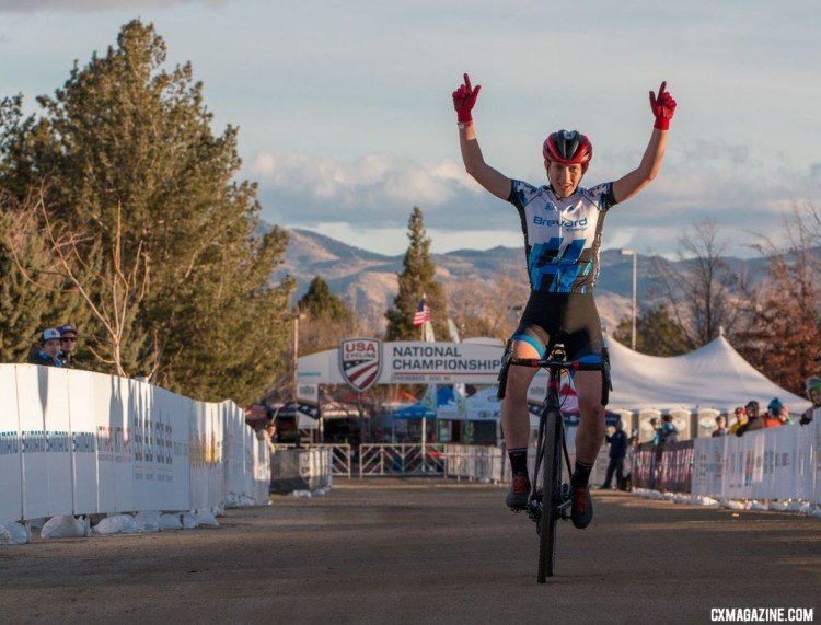 Hannah Arensman celebrates her win. 2018 Cyclocross National Championships. © A. Yee / Cyclocross Magazine