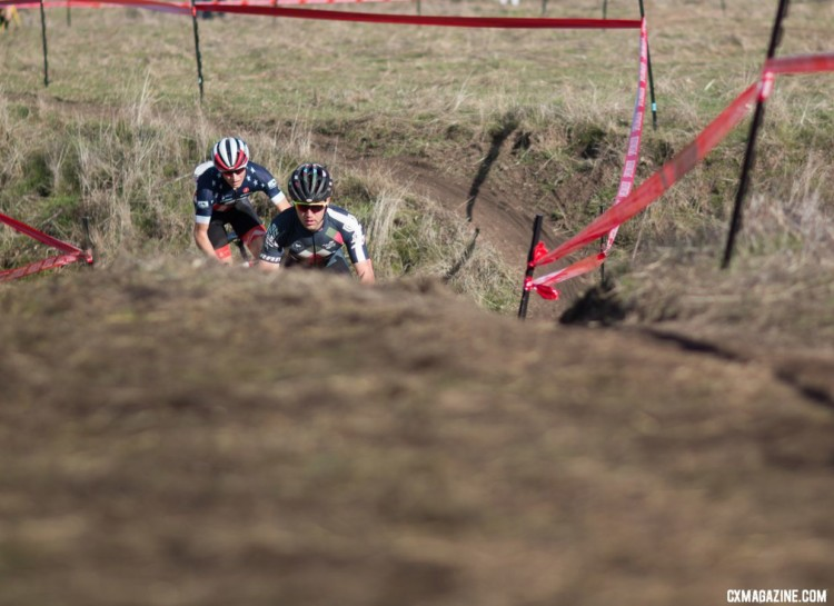Tobin Ortenblad and Lance Haidet had a tight battle until Haidet was stalled by an apparent mechanical. 2018 NCNCA District Champs, Lion Oaks Ranch. © A. Yee / Cyclocross Magazine