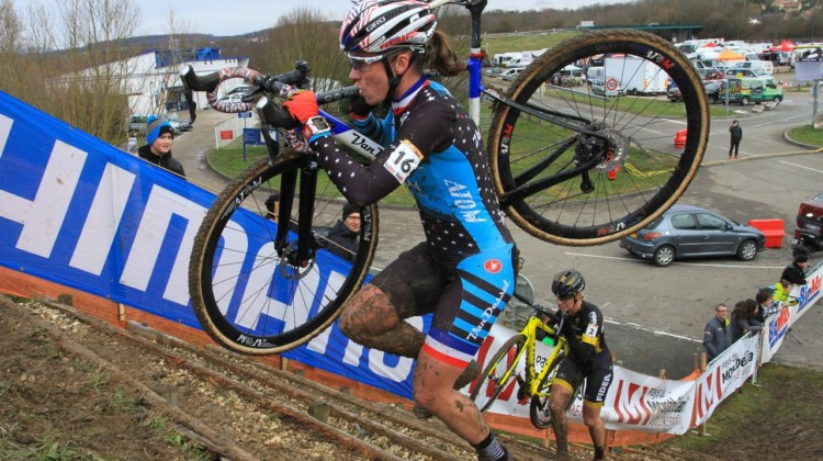 Caroline Mani was sporting her new Van Dessel / Atom Composites kit. 2018 Telenet UCI World Cup Nommay. © B. Hazen / Cyclocross Magazine
