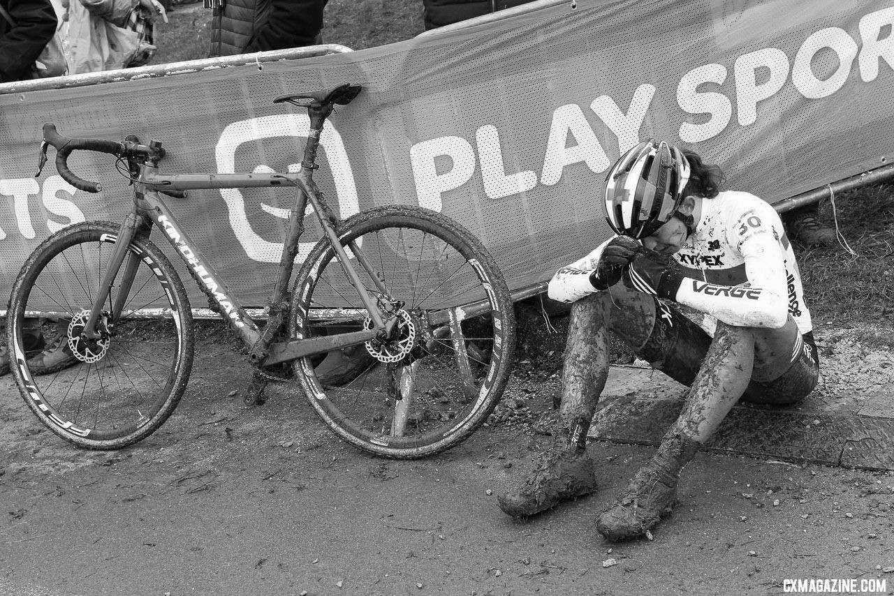 Wyman spent after a top-five finish. Nommay UCI Cyclocross World Cup - Elite Women. © B. Hazen / Cyclocross Magazine