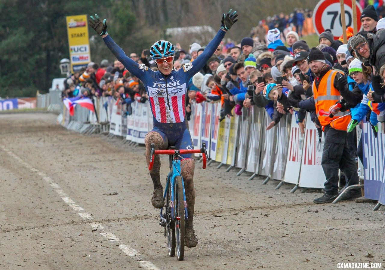Katie Compton wins the 2018 Nommay UCI Cyclocross World Cup - Elite Women. © B. Hazen / Cyclocross Magazine