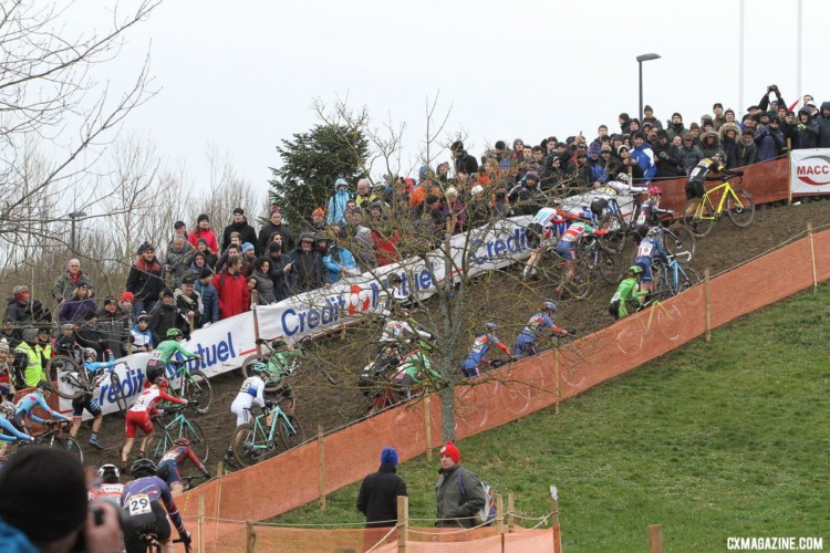 The women on lap one. Nommay UCI Cyclocross World Cup - Elite Women. © B. Hazen / Cyclocross Magazine