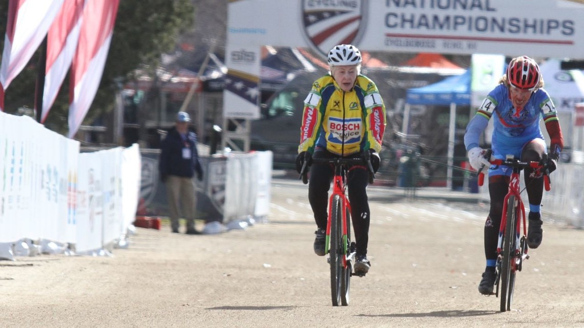 Frances Marquardt took the Mastes 75+ win on Friday. 2018 Cyclocross National Championships, Women Masters 75+. © D. Mable / Cyclocross Magazine
