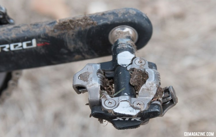 Cannondale riders are given the freedom to choose their own pedal system. Hyde uses Shimano XTR PD-M9000, which is less common in cyclocross than the lower level XT PD-M8000 model. © C. Lee / Cyclocross Magazine