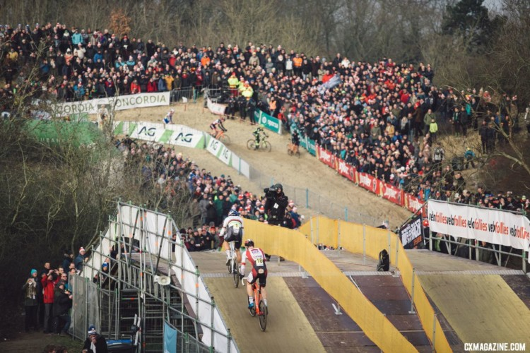 Laurens Sweeck was the only one to hold Van Aert's wheel, but it was only temporary. 2018 - Belgian Cyclocross National Championships © Cyclephotos / Cyclocross Magazine