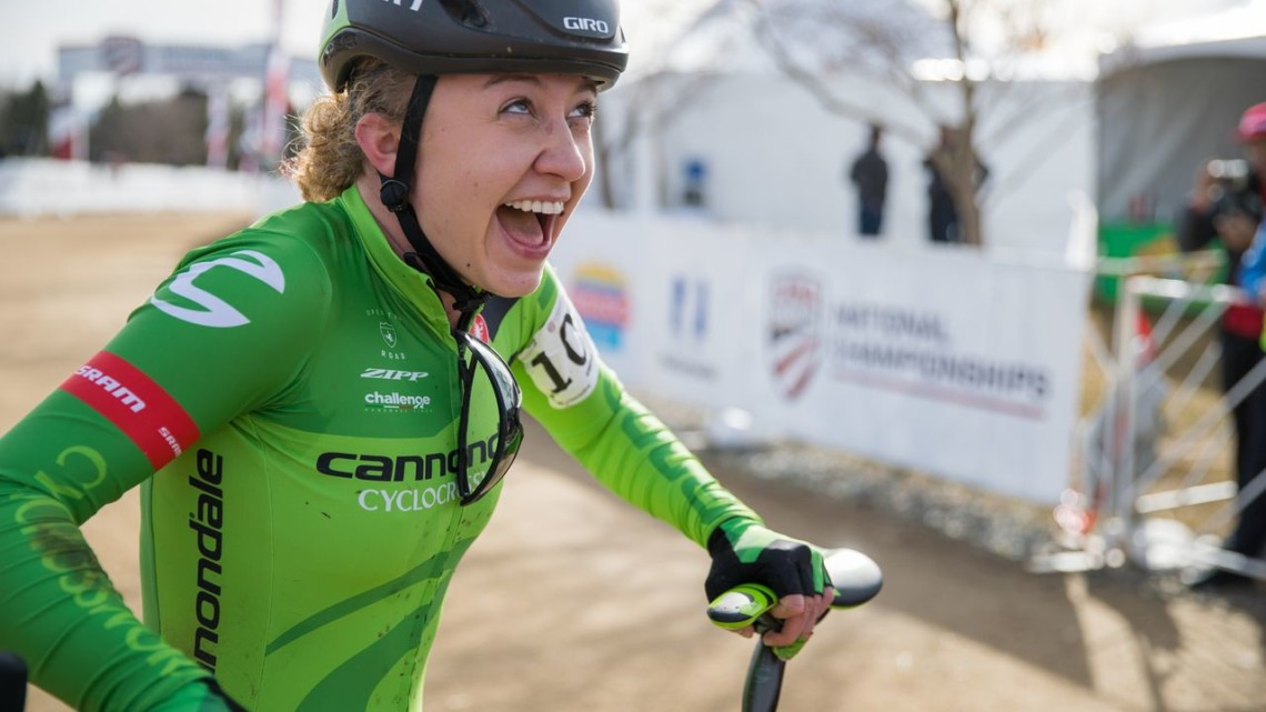 Emma White celebrates after her U23 National Championship. 2018 Cyclocross National Championships. © J. Curtes / Cyclocross Magazine