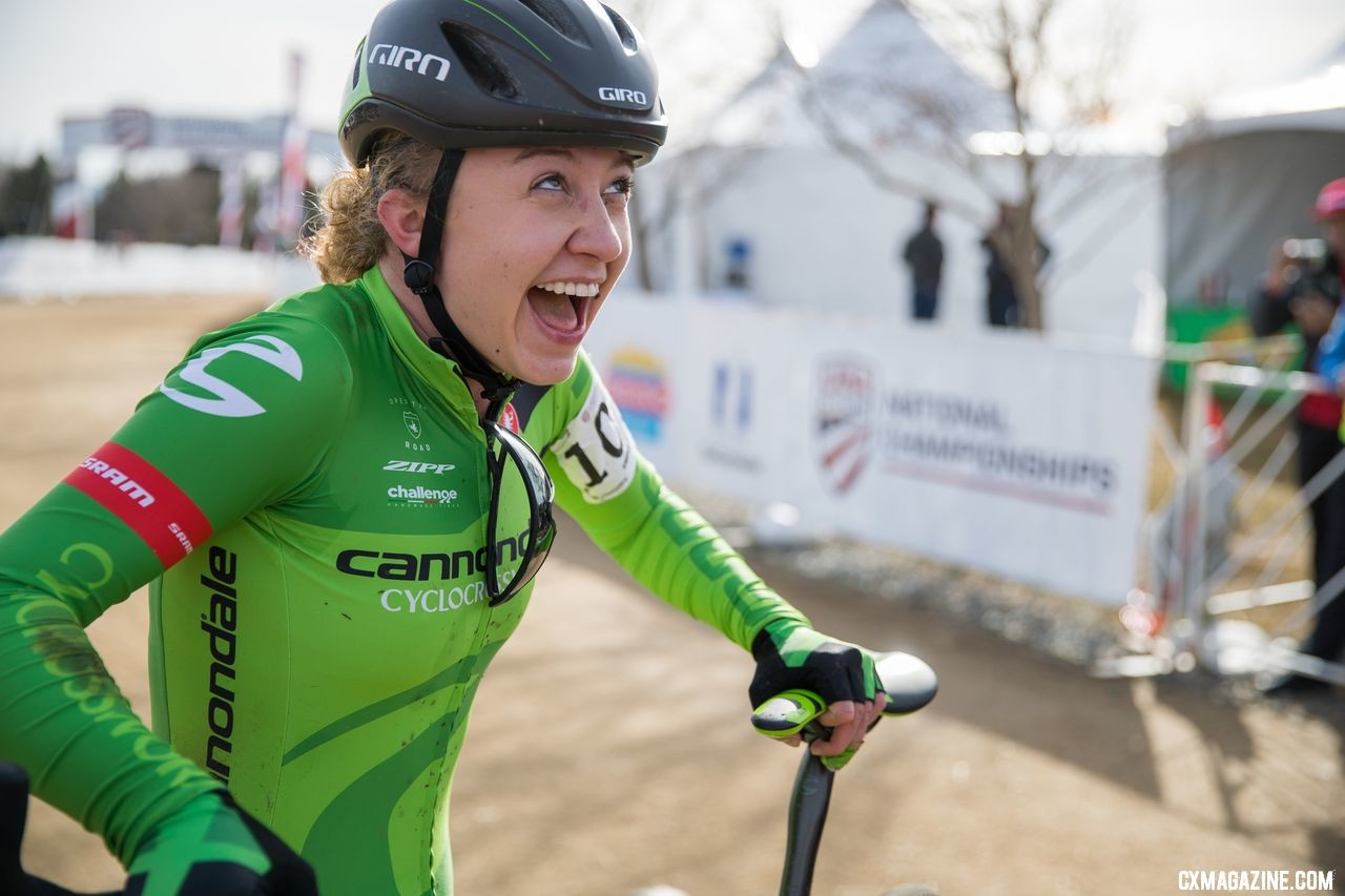 Emma White won U23 Nationals in her last domestic race with the Cannondale p/b CyclocrossWorld team. 2018 Cyclocross National Championships. © J. Curtes / Cyclocross Magazine