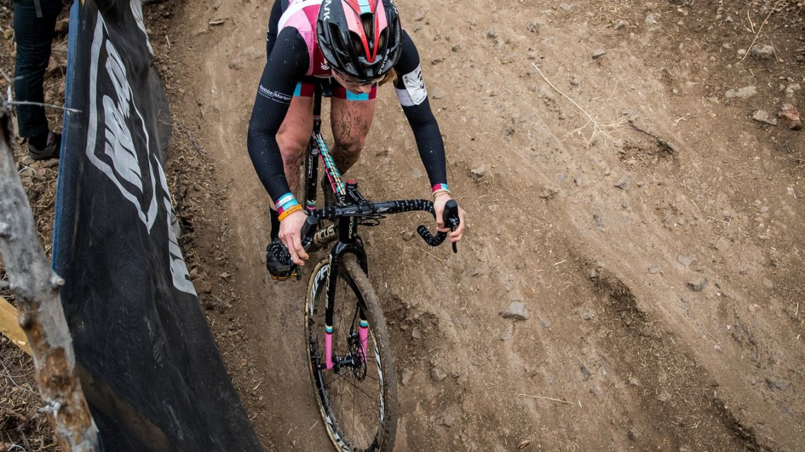 A look down at Ellen Noble shows the rocks riders had to contend with. 2018 Cyclocross National Championships. © J. Curtes / Cyclocross Magazine