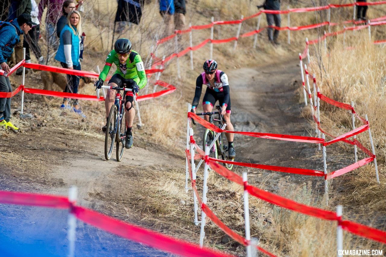 Jeremy Powers had a battle for the ages against Stephen Hyde at Reno Nationals. 2018 Cyclocross National Championships. © J. Curtes / Cyclocross Magazine