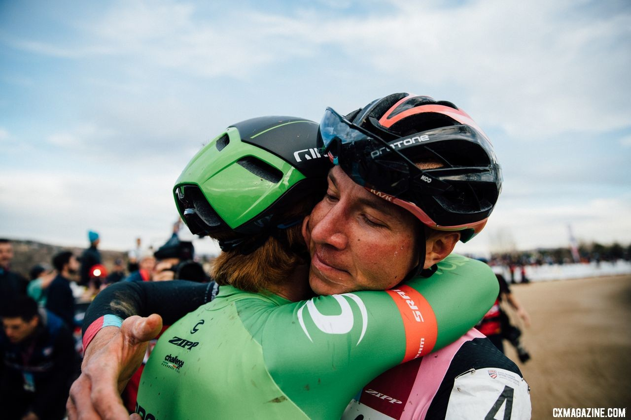 Stephen Hyde and Jeremy Powers shared an embrace after the race. 2018 Cyclocross National Championships. © J. Curtes / Cyclocross Magazine