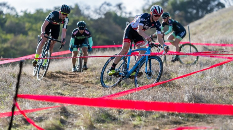 Lance Haidet leads Tobin Ortenblad and Max Judelson down the chicanes. 2018 NCNCA District Champs, Lion Oaks Ranch. © J. Vander Stucken / Cyclocross Magazine