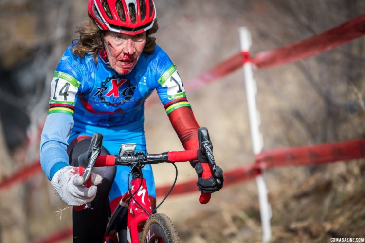 Maurine Sweeney took a spill in the Masters Women 65-69 race, but kept going to the finish. 2018 Reno Cyclocross National Championships. © J. Vander Stucken / Cyclocross Magazine