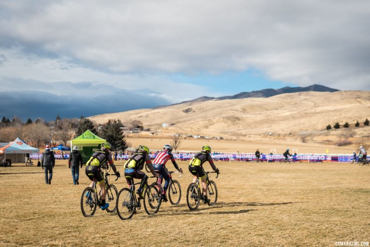 Stephen Hyde and some of the Cannondale p/b CyclocrossWorld riders head out to pre-ride the Reno course. 2018 Reno Cyclocross National Championships. © J. Vander Stucken / Cyclocross Magazine