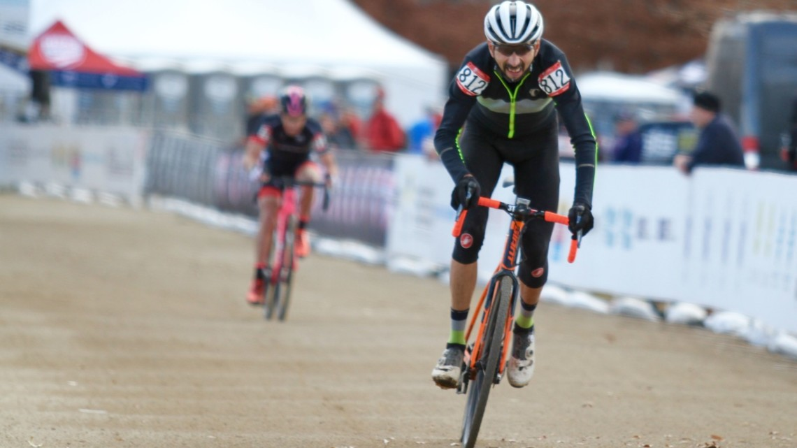 Emilio Cervantes won late in the Masters 55-59 race. 2018 Cyclocross National Championships, Masters 55-59. © D. Mable/ Cyclocross Magazine