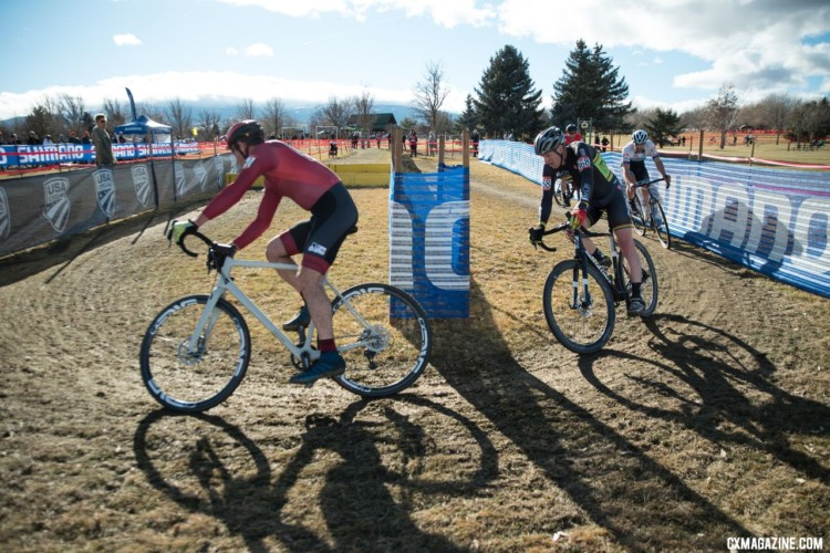 The chase group behind Wells featured several heavy hitters. Masters 40-44. 2018 Cyclocross National Championships. © J. Vander Stucken / Cyclocross Magazine