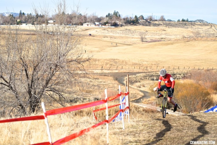 Torin Bickmore follows the shadows to a top ten finish. 2018 Cyclocross National Championships. © J. Vander Stucken / Cyclocross Magazine