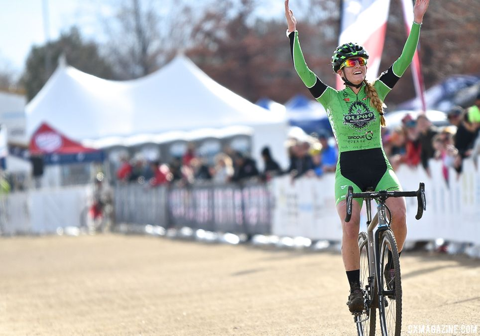 Katie Clouse has had a busy travel schedule the last few days. 2018 Cyclocross National Championships. © D. Mable/ Cyclocross Magazine