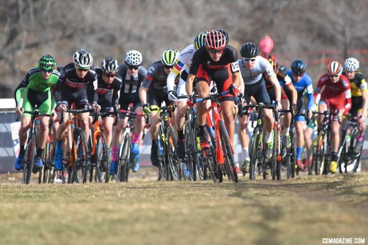 Christopher Blevins grabs the holeshot and kept pushing til the finish. U23 Men, 2018 Cyclocross National Championships. © J. Vander Stucken / Cyclocross Magazine