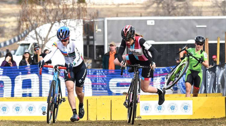 Compton, Noble and Keough hit the barriers in the first lap. 2018 Reno Cyclocross National Championships, Elite Women. © J. Vander Stucken / Cyclocross Magazine