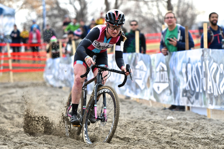 Ellen Noble rode to a strong second-place finish on Sunday. 2018 Reno Cyclocross National Championships, Elite Women. © J. Vander Stucken / Cyclocross Magazine
