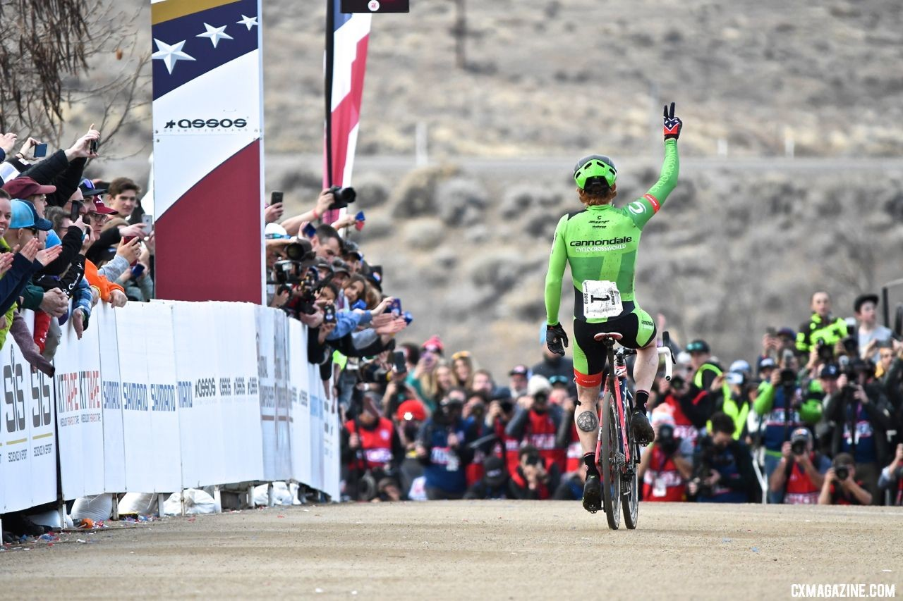 Rancho San Rafael and Reno Cyclocross proved great hosts at Nationals in January. Elite Men, 2018 Cyclocross National Championships. © J. Vander Stucken / Cyclocross Magazine