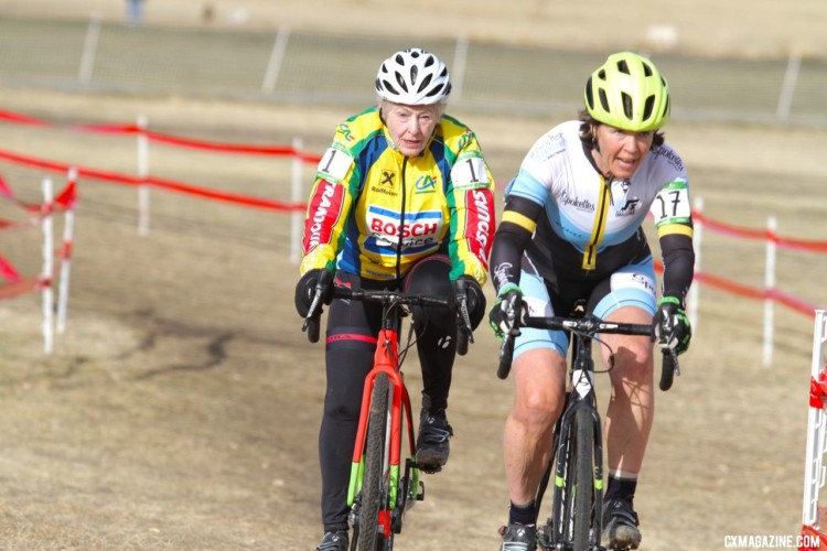 Frances Marquart had fun racing Friday. Masters Women 60 Plus. 2018 Cyclocross National Championships. © D. Mable/ Cyclocross Magazine