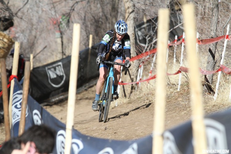 Lisa Fitzgerald navigates the off-camber. Masters Women 55-59. 2018 Cyclocross National Championships. © D. Mable/ Cyclocross Magazine