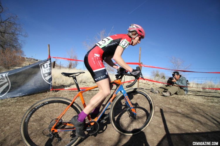 Monica Lloyd was in control on the big climb. Masters Women 40-44. 2018 Cyclocross National Championships. © D. Mable / Cyclocross Magazine