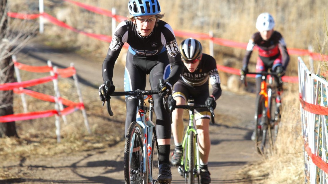 Luke Heinrich and Beckett Tooley had a close battle throughout. Junior Men 13-14. 2018 Cyclocross National Championships. © D. Mable/ Cyclocross Magazine