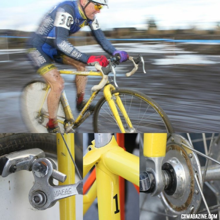 Paul Curley brought his Tom Stevens Spin Arts frame with barcons, wheel cover and rear view to win Nationals in Bend in 2010. © Cyclocross Magazine