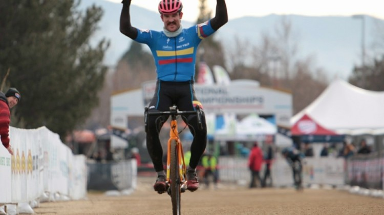 Brandon Melott wins the Masters 30-34 race at the 2018 Cyclocross National Championships. © Cyclocross Magazine