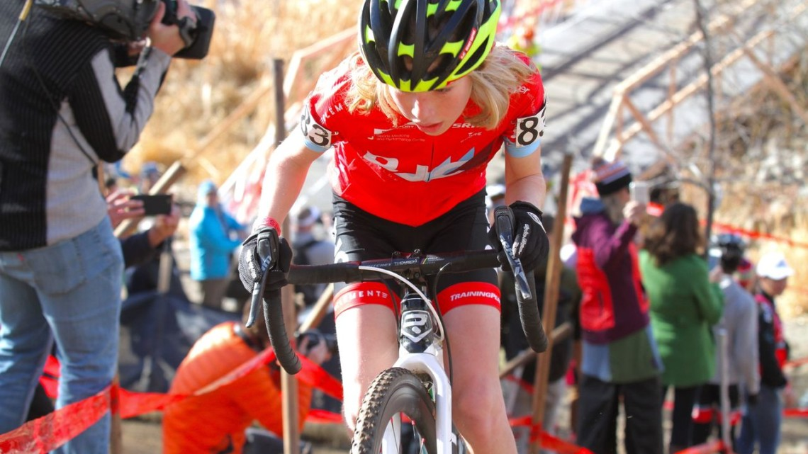 Henry Rapinz had success on the hill. Junior Men 13-14. 2018 Cyclocross National Championships. © D. Mable/ Cyclocross Magazine