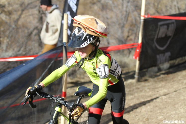 William Palmer was sporting the latest fashion for his race. Junior Men 11-12. 2018 Cyclocross National Championships. © D. Mable/ Cyclocross Magazine
