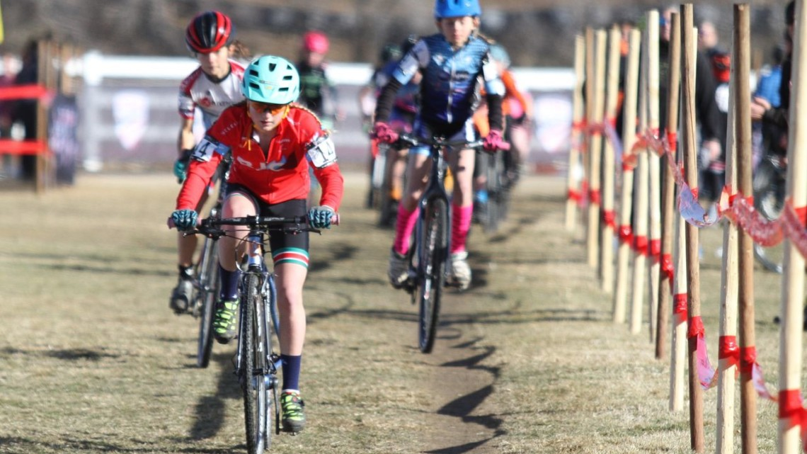 Haydn Hludzinski leads riders early in the race. Junior Women, 13-14. 2018 Cyclocross National Championships. © D. Mable/ Cyclocross Magazine