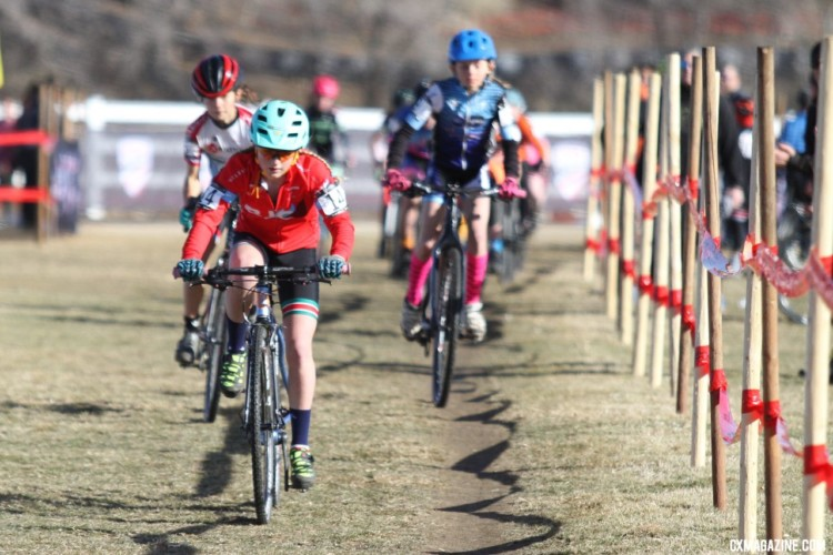Haydn Hludzinski leads riders early in the race. Junior Women, 11-12. 2018 Cyclocross National Championships. © D. Mable/ Cyclocross Magazine