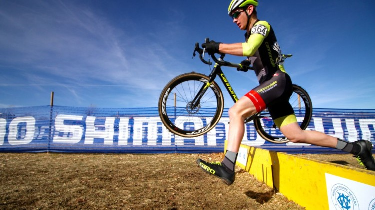 Magnus Sheffield takes a controlled approach to the barriers. Junior Men 15-16. a2018 Cyclocross National Championships. © D. Mable/ Cyclocross Magazine