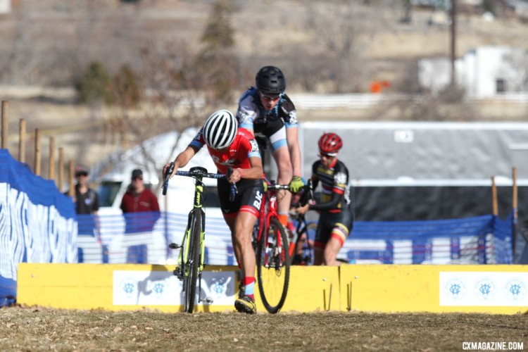 Junior Men 15-16 took different approaches to the barriers. 2018 Cyclocross National Championships. © D. Mable/ Cyclocross Magazine