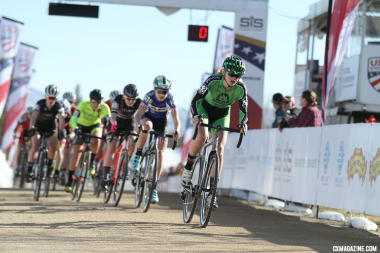 Lauren Zoerner led out a fast start. Junior Women 15-16. 2018 Cyclocross National Championships. © D. Mable/ Cyclocross Magazine