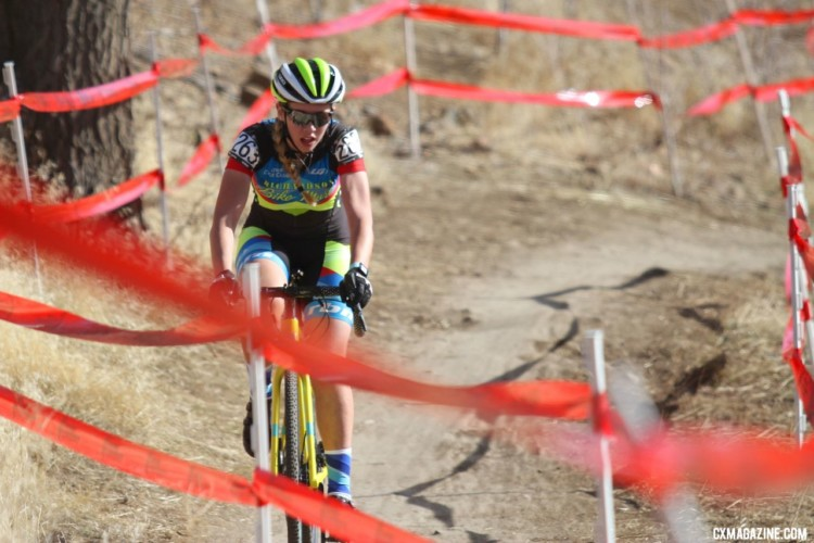 Abigail Yates had a strong ride on Saturday. Junior Women 15-16. 2018 Cyclocross National Championships. © D. Mable/ Cyclocross Magazine