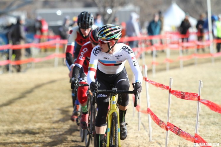 Gomez Villafane looks for help into the wind. Junior Men. 2018 Cyclocross National Championships. © D. Mable/ Cyclocross Magazine