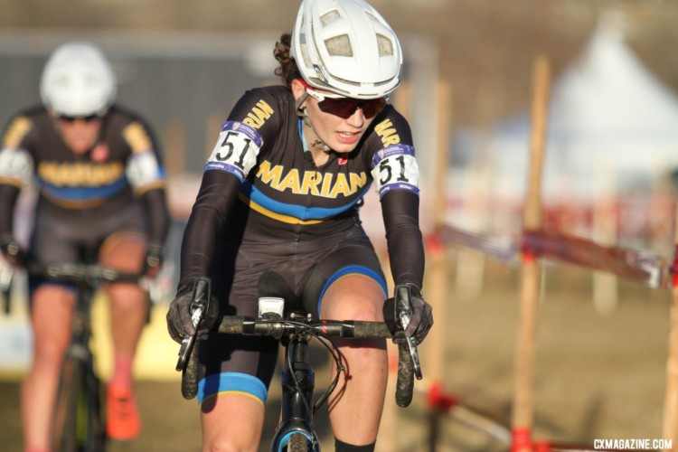 Emma Swartz had a solid ride, finishing third. Collegiate Varsity Women. 2018 Cyclocross National Championships. © D. Mable/ Cyclocross Magazine