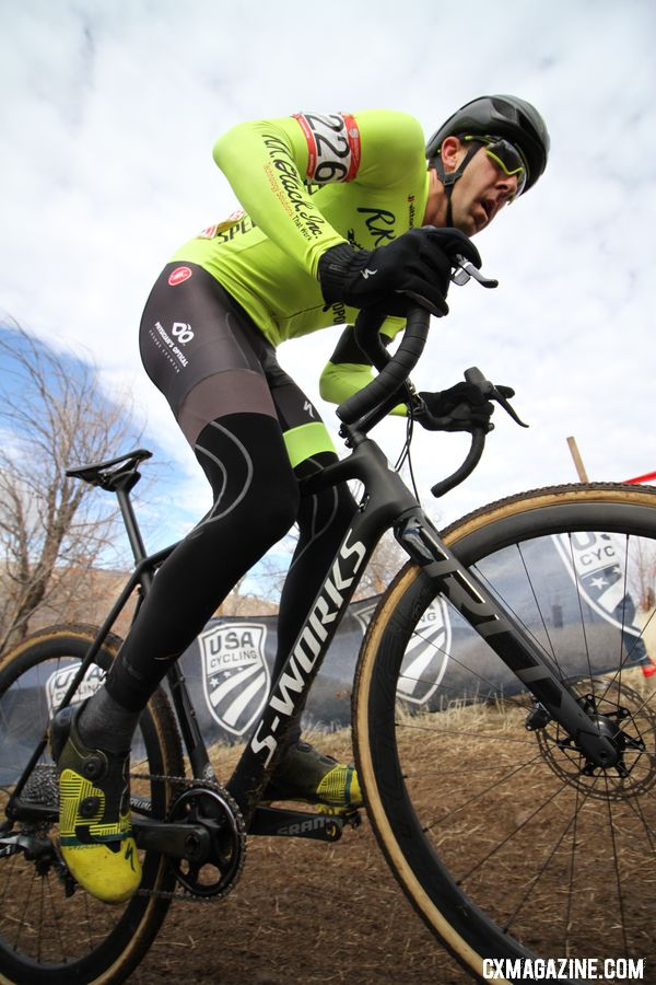 Chris Drummond got off to a fast start in Reno. Masters 35-39. 2018 Cyclocross National Championships. © D. Mable/ Cyclocross Magazine