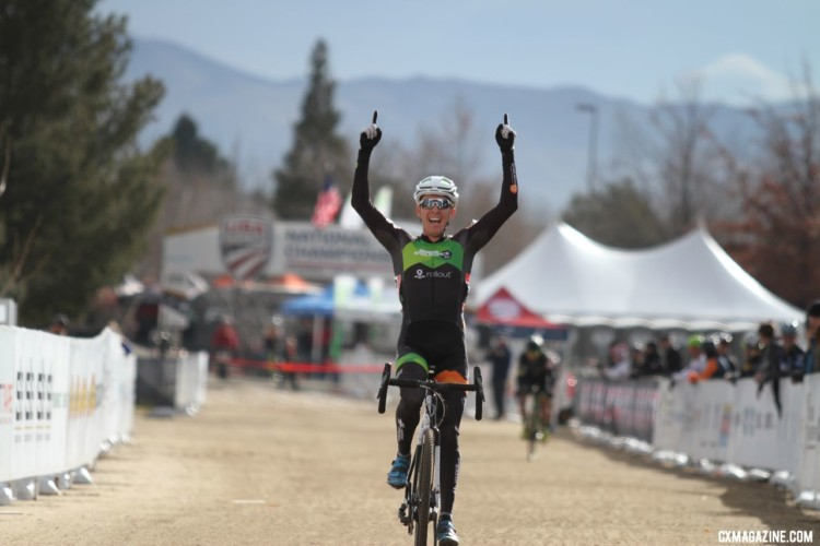 Kevin Day celebrates his Nationals win. Masters 35-39. 2018 Cyclocross National Championships. © D. Mable/ Cyclocross Magazine
