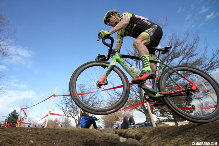 One of the moves on display was Greg Fenton hopping the Little Loenhout ditch. Masters 55-59. 2018 Cyclocross National Championships. © D. Mable/ Cyclocross Magazine