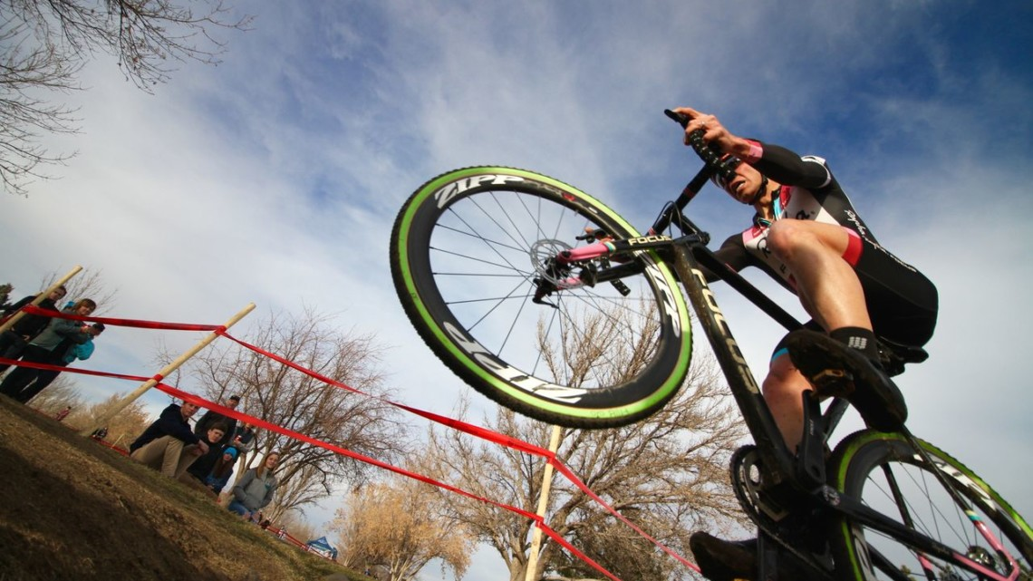 Jeremy Powers hops the ditch. Elite Men, 2018 Cyclocross National Championships. © D. Mable/ Cyclocross Magazine