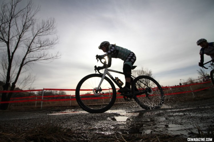 Riders were still able to find some water on the course. Masters Women 60 Plus. 2018 Cyclocross National Championships. © D. Mable/ Cyclocross Magazine