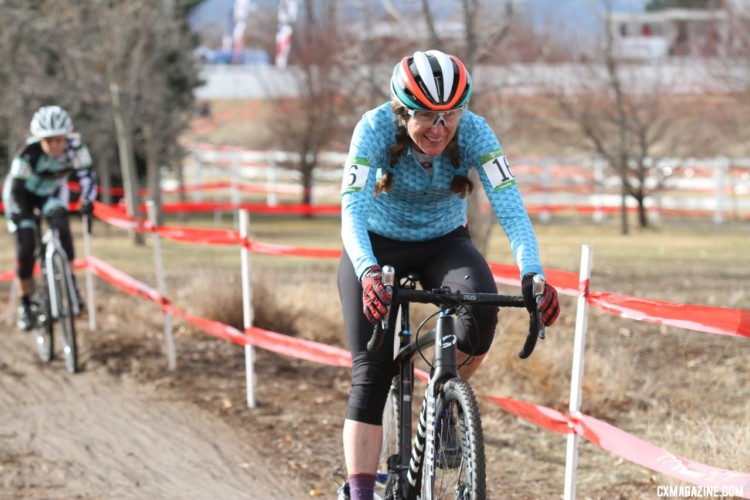If Susan Bernabas didn't consider herself a bike racer before, she does now. Masters Women 60 Plus. 2018 Cyclocross National Championships. © D. Mable/ Cyclocross Magazine