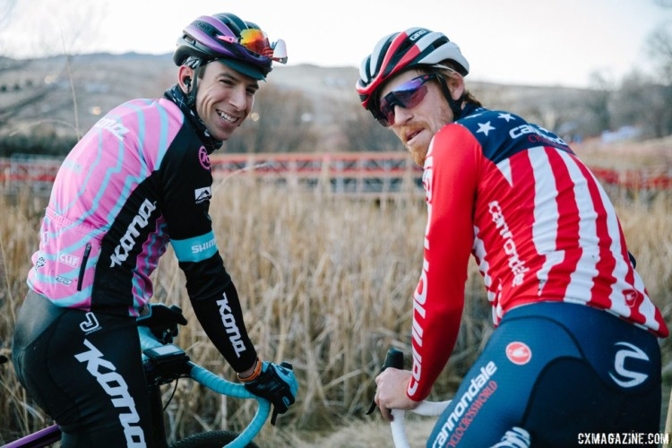 Stephen Hyde and Kerry Werner pre-rode the course together on Friday night. 2018 Cyclocross National Championships. © J. Curtes / Cyclocross Magazine